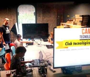 tecnología, club, niños, equipo, creatividad